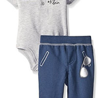 Calvin Klein Baby-Boys Bodysuit and French Terry Pants, Navy, 6-9 Months