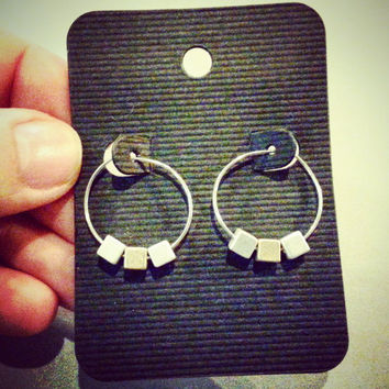 Silver Hoops with Silver Cubes - Geometric Earrings - Modern Two Tone Minimal Hoop Earrings - Choose Silver or Gold Cubes