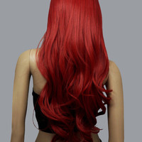 Lounge Brick Red Synthetic Full-Volume Curls Long Halloween Wig