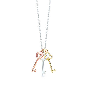 Tiffany & Co. - Tiffany Keys mini three-key pendant in silver and 18k rose and yellow gold.