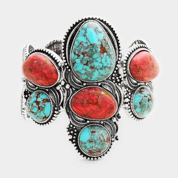 """7.50"""" silver turquoise coral stone stretch bracelet boho 2.75"""" wide"""