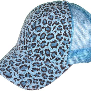 CLEARANCE Monogrammed Distressed Leopard Print Trucker Hat