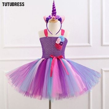 7 Style Flower Girls Unicorn Tutu Dress With Headband Fancy Girl Party Dress Rainbow Tulle Princess Dress Kids Halloween Costume