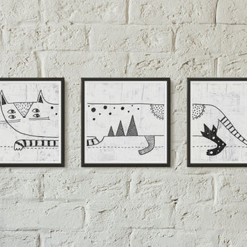 Cute triptych fine art print, B&W print, Sharpie, Mixed media, Cat, Simple art, Square painting, Home decor, Wall decor