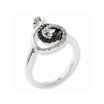 Sterling Silver Black And White Diamond Swan Ring, Best Quality Free Gift Box Satisfaction Guaranteed