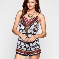 Angie Elephant Print Womens Lattice Back Romper Navy  In Sizes