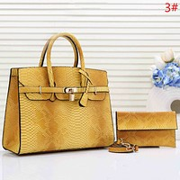 Hermes Fashion New Snake Texture Two Piece Suit Shoulder Bag Handbag Women