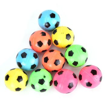 10Pcs Random Color Bouncing Football Soccer Ball Rubber Elastic Jumping Kid Outdoor Ball Toys Gifts for kids