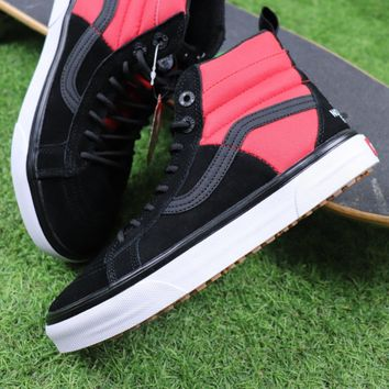 Sale The North Face TNF x Vans MTE 2017 Sk8-Hi Black Red Hiking Shoes Sneaker