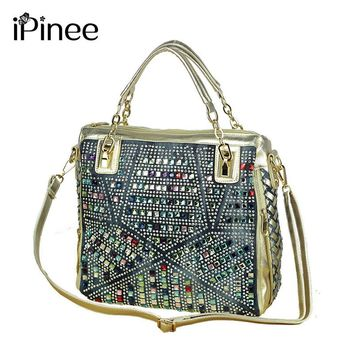 fashion brand luxury bag designer handbags high quality gold diamante woven denim bags