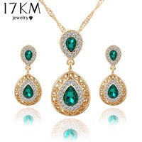 Crystal Water Drop Pendant Necklaces Earrings Set