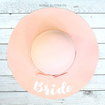 Bride // Floppy Hat - Cute Hat - Custom Hat - Bride To Be Hat - Engagement Party Hat - Bridal Shower Hat - Font A
