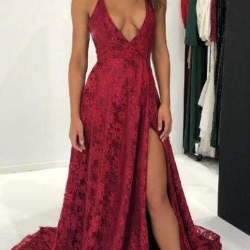 Prom Dresses Burgundy Straps Appliques Slit Evening Dresses