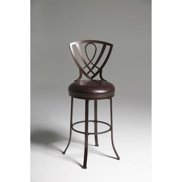 Copper Finish Metal 30-Inch Bar Stool with Brown Faux Leather Seat