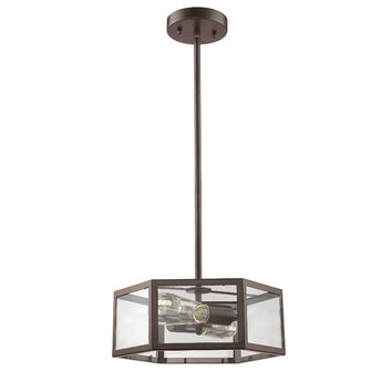 "CHLOE Lighting IRONCLAD Industrial-style 2 Light Rubbed Bronze Mini Pendant 13"" Shade"