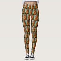 Fun, fierce, vintage retro wood tiki face photo leggings