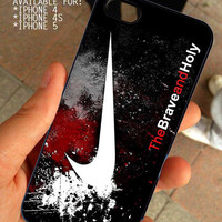 Nike Just Do It The Brave And Holy  for iPhone 4 / 4s or 5 case cover, Black or White