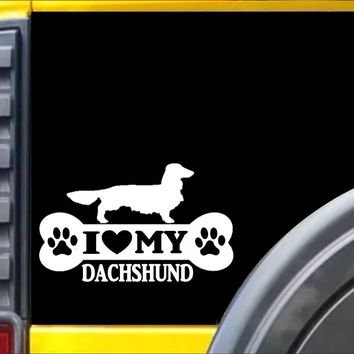 Longhair Dachshund Bone L065 8 inch Sticker dachshund dog decal