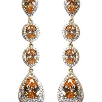 Chloey Champagne Linear Long Chandelier Earrings | Cubic Zirconia | Gold