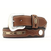 M&F Western Products Men's Top Hand Black Strap w/ Brown Overlays Belt