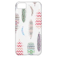 Feathers Pink Tribal Aztec Teal Chevron Pattern