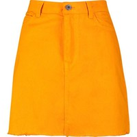 Tangerine Denim Skirt | Boohoo
