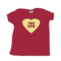 Twin Baby Two Cute Valentine's Heart Red Tshirt