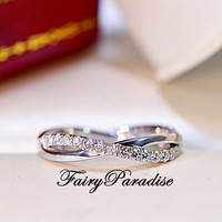 Twisted Infinity Wedding Band with Man Made Diamonds Stackable Anniversary Rings in 925 Sterling Silver, Free ring box (FairyParadise)