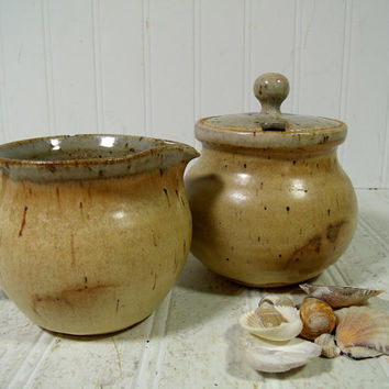 Vintage Stoneware Pottery Large Sugar & Creamer Set Signed CP - Mid Century Bohemian Hand Crafted Pottery Pair with Lidded Bowl and Pitcher
