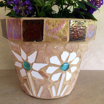 Mosaic flower pot, indoor planter, outdoor planter, handmade herb pots, kitchen plant storage, mosaic planters, small patio pot, garden art