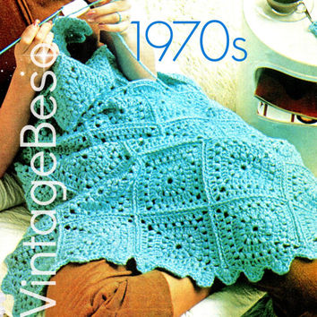 Afghan Crochet PATTERN - Easy Granny Square Afghan - Vintage 70s Boho Home Decor Blanket Coverlet VintageBeso Instant Download PDF Pattern
