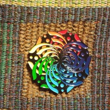EDM Bass Music Festival Rave DJ ROYGBIV Rainbow Flower Mandala Lapel Hat Pin