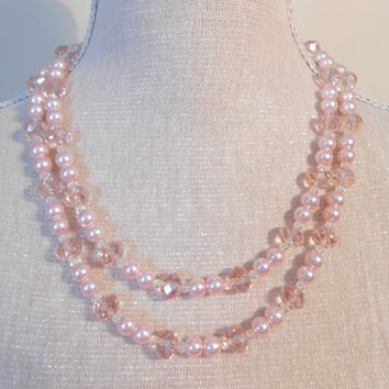 Pearl necklace,Two strand Pale pink glass beads, Unique for wedding, Bridesmaid, Mother of the Bride, Bridal shower gifts, Valentine day