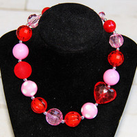 Valentines Chunky Necklace, Girls Valentines Necklace, Girls Chunky Bubblegum Necklace, Red and Pink Necklace, Valentines Accessories