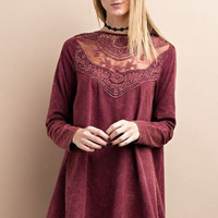 Long sleeve mineral washed tunic with front lace & button down back
