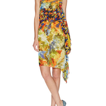 Mesh Printed Draped Ruffle Dress