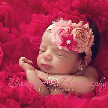 Shabby chic headband, Baby headband, Newborn headband, Pink shabby chic flowers on elastic band