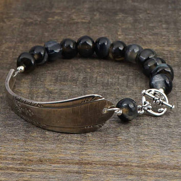 Spoon handle bracelet with freeform black agate beads, silverware jewelry 7 3/4 inches