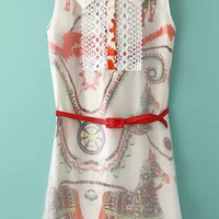 Red and White Sheer Mesh Lapel Horse Print Organza Dress