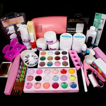 Nail Art Salon Supplies Kit and Tool, UV Lamp, UV Gel Nail Polish, Manicure Set Acrylic