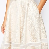 Lavish Alice Rose Gold Baroque Jacquard Full Midi Skirt with Sheer Insert