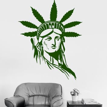 Vinyl Wall Decal Statue of Liberty Hippie Marijuana Weed Stickers Unique Gift (ig3928)