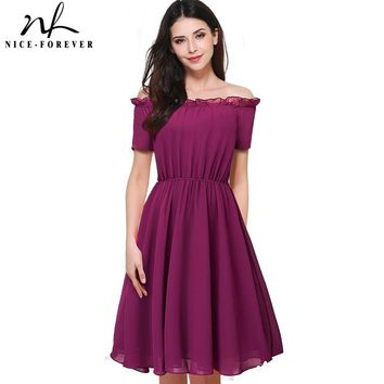 Nice-forever New Summer Vintage Lace Slash Neck Women Short sleeve Tunic Vacation Causal Pleated A-Line Female Office Dress A035