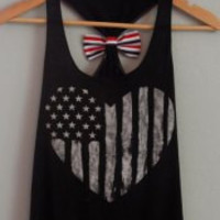 Black Stars and Stripe Print Tank Top with Bowknot
