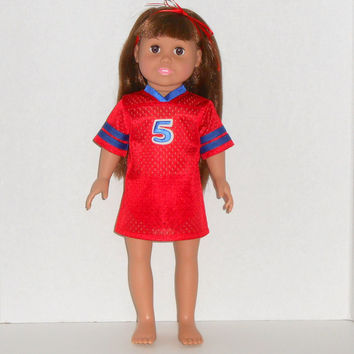 American Girl Doll Red and Blue Football Jersey Nightgown with Panties