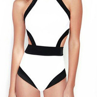 White Cut Out Color Block Cut Away One-Piece Swimsuit