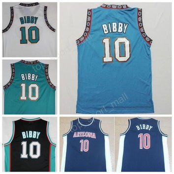 Men Throwback 10 Mike Bibby Jersey College Basketball Arizona Wildcats Jerseys Vintage Sports All Stitching White Black Green Blue