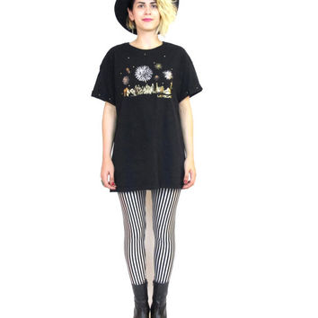 80s Las Vegas Studded Fireworks  Tshirt Black Cotton Puffy Paint Oversize Hipster Tee (M/L)