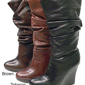 Jessica Simpson Jacky Wedge Mid Calf Leather Boots | Overstock.com