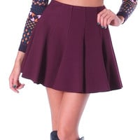 Moody Rouge Flared Skater Mini Skirt - Burgundy